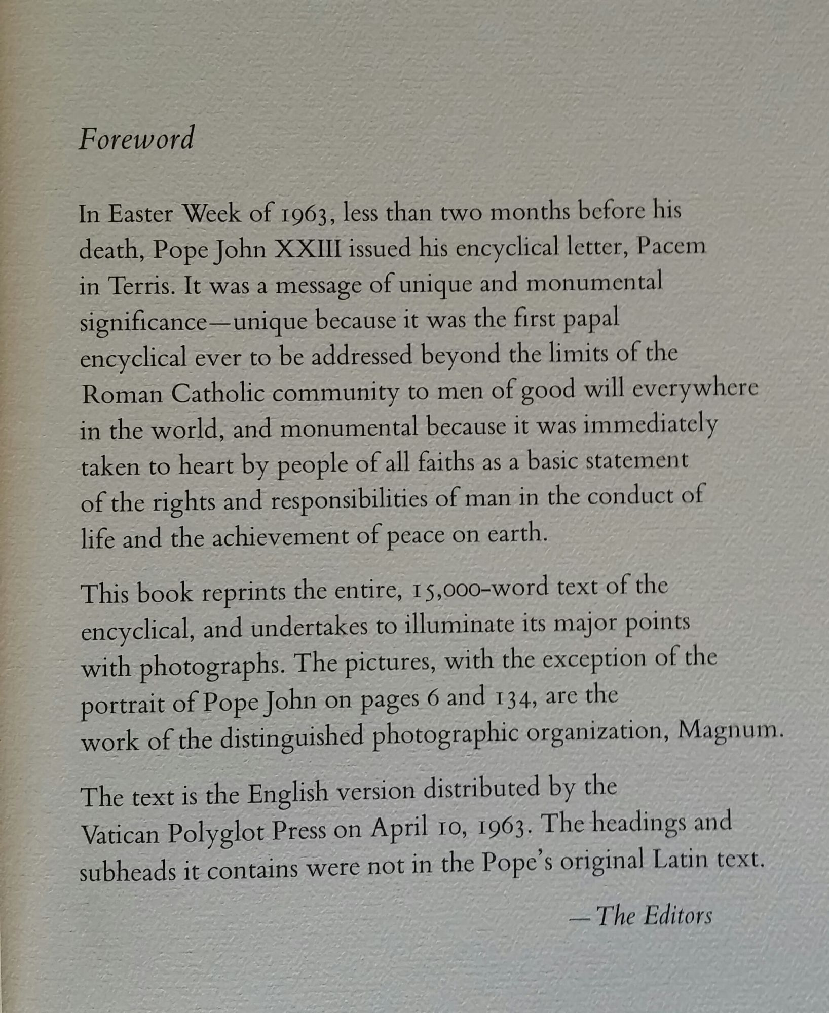 peace on earth an encyclical letter of his holiness pope john xxiii photographs by