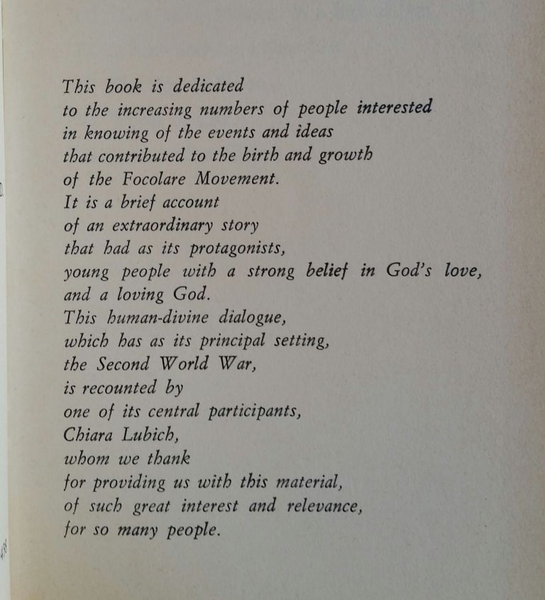 That All Men Be One; Origins and Life of the Focolare Movement. Chiara Lubich.