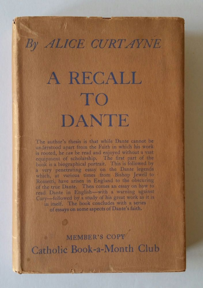 A Recall to Dante. Alice Curtayne.