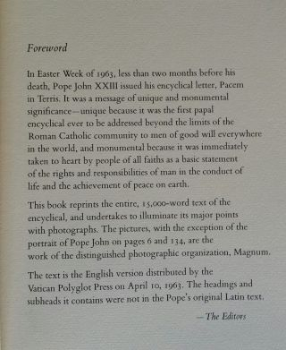 Peace on Earth; An Encyclical Letter of His Holiness Pope John XXIII. Photographs by Magnum.