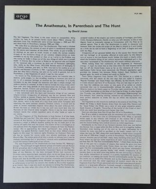 Readings from The Anathemata, In Parenthesis and The Hunt
