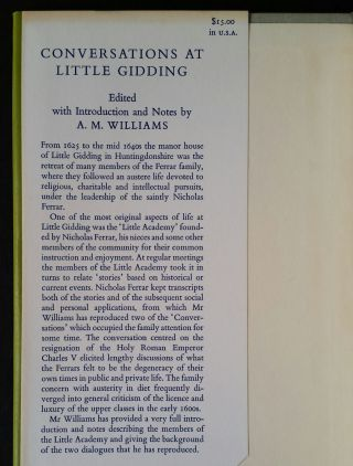 Conversations at Little Gidding; Dialogues by Members of the Ferrar Family