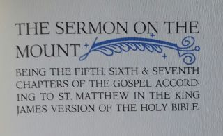 The Sermon on the Mount; Being the Fifth, Sixth, and Seventh Chapters of the Gospels According to St. Matthew